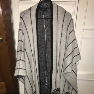 Heavyweight tribal print poncho cardigan
